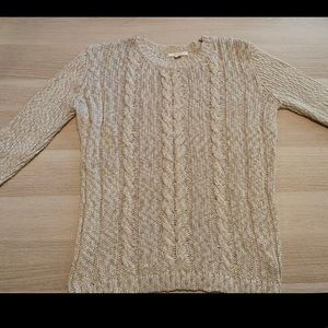 Tulle cream and gold sweater. Size Large.